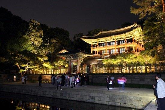 Cung điện Cheongdeokgung về đêm